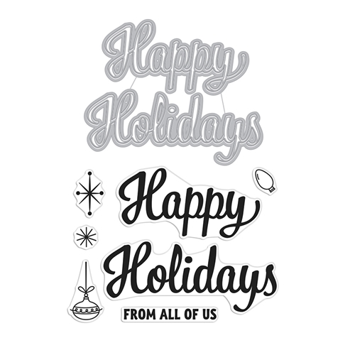 Hero Arts Stamp and Cuts HAPPY HOLIDAYS SCRIPT Set DC269 Preview Image