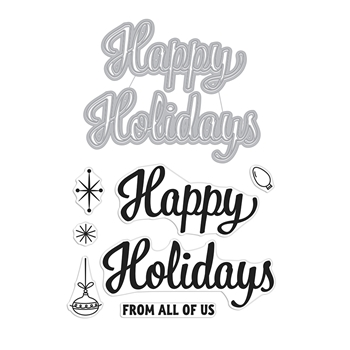 Hero Arts Stamp and Cuts HAPPY HOLIDAYS SCRIPT Set DC269