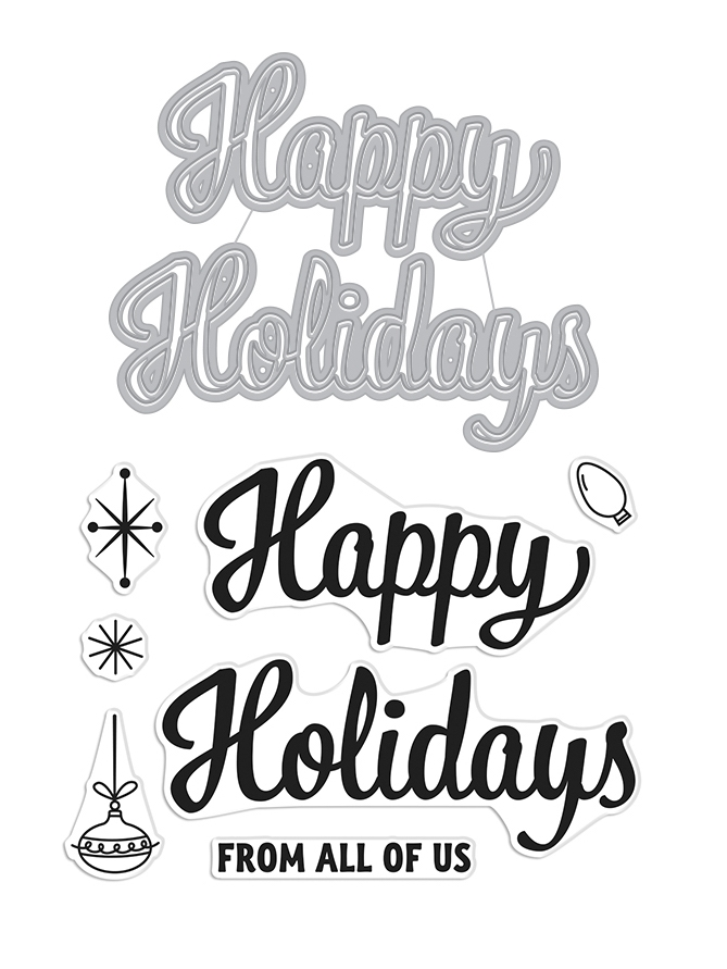 Hero Arts Stamp and Cuts HAPPY HOLIDAYS SCRIPT Set DC269 zoom image