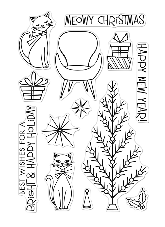 Hero Arts Clear Stamps MEOWY CHRISTMAS CM402 zoom image