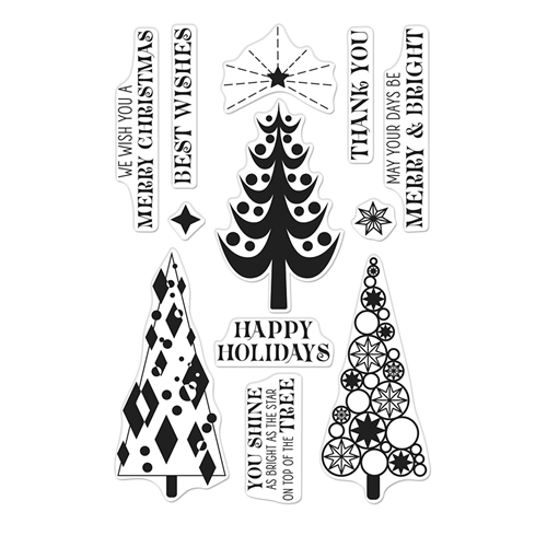 Hero Arts Clear Stamps STYLIZED CHRISTMAS TREES CM401 Preview Image