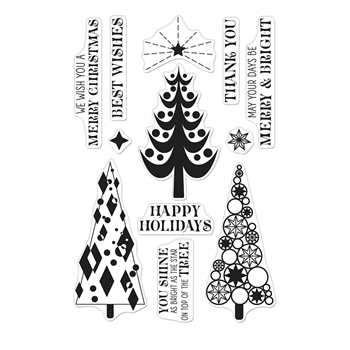 Hero Arts Clear Stamps STYLIZED CHRISTMAS TREES CM401