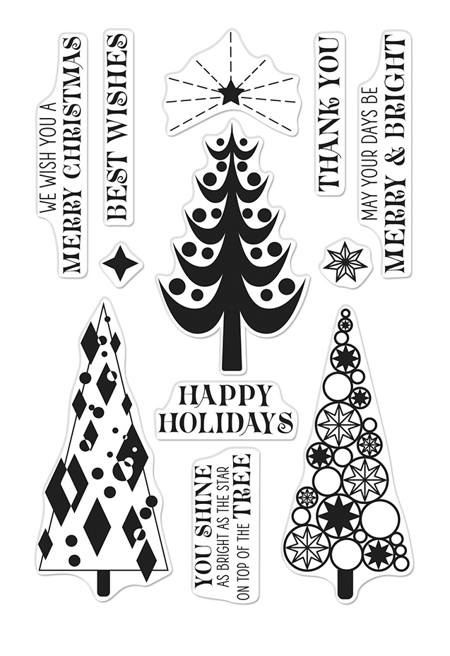 Hero Arts Clear Stamps STYLIZED CHRISTMAS TREES CM401 zoom image