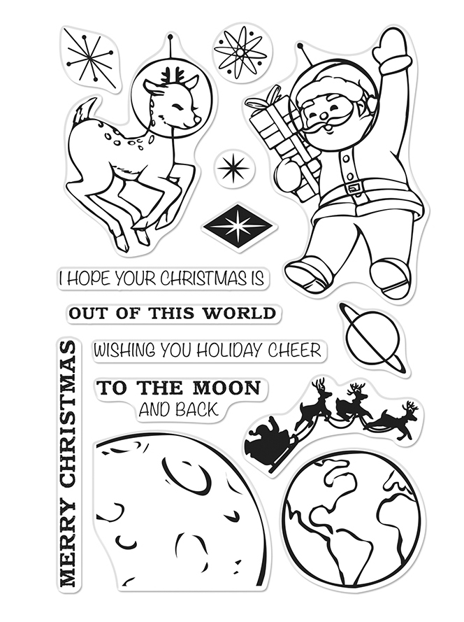 Hero Arts Clear Stamps OUT OF THIS WORLD CHRISTMAS CM400 zoom image