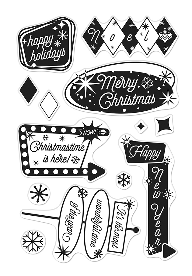 Hero Arts Clear Stamps RETRO CHRISTMAS CM399 zoom image
