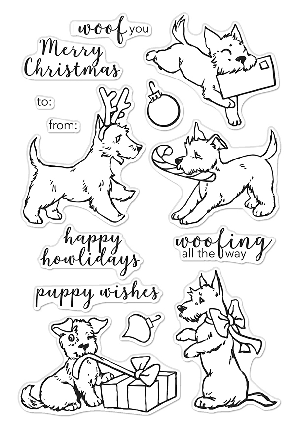 Hero Arts Clear Stamps MERRY WOOF CM398 zoom image