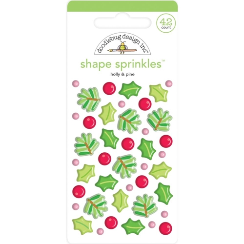 Doodlebug HOLLY AND PINE Sprinkles Adhesive Glossy Enamel Shapes 6444 Preview Image
