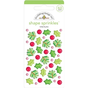 Doodlebug HOLLY AND PINE Sprinkles Adhesive Glossy Enamel Shapes 6444