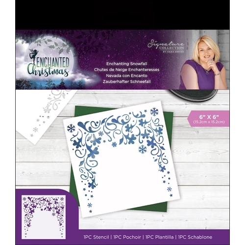 Crafter's Companion ENCHANTING SNOWFALL Enchanted Christmas Stencil s-ec-sten-esno Preview Image