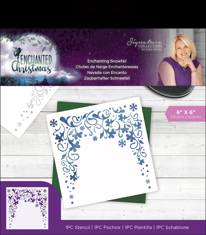 Crafter's Companion ENCHANTING SNOWFALL Enchanted Christmas Stencil s-ec-sten-esno zoom image