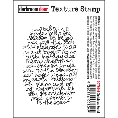 Darkroom Door Cling CHRISTMAS SCRIPT Texture Stamp ddts046 Preview Image
