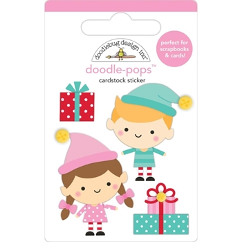 Doodlebug SANTA'S HELPERS Doodle Pops 3D Stickers Christmas Magic 6457