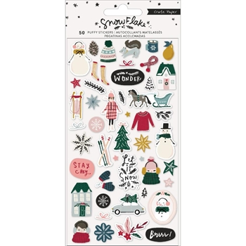 Crate Paper SNOWFLAKE Puffy Stickers 350982