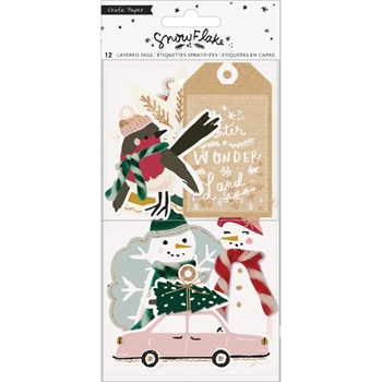 Crate Paper SNOWFLAKE Layered Tags 350988