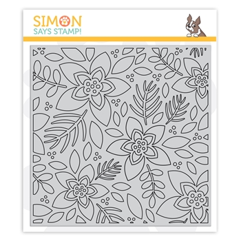 Simon Says Cling Rubber Stamp OUTLINE WINTER FLORAL sss102068 Cheer And Joy
