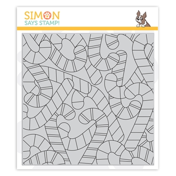 Simon Says Cling Rubber Stamp CANDY CANE BACKGROUND sss102035 Cheer And Joy