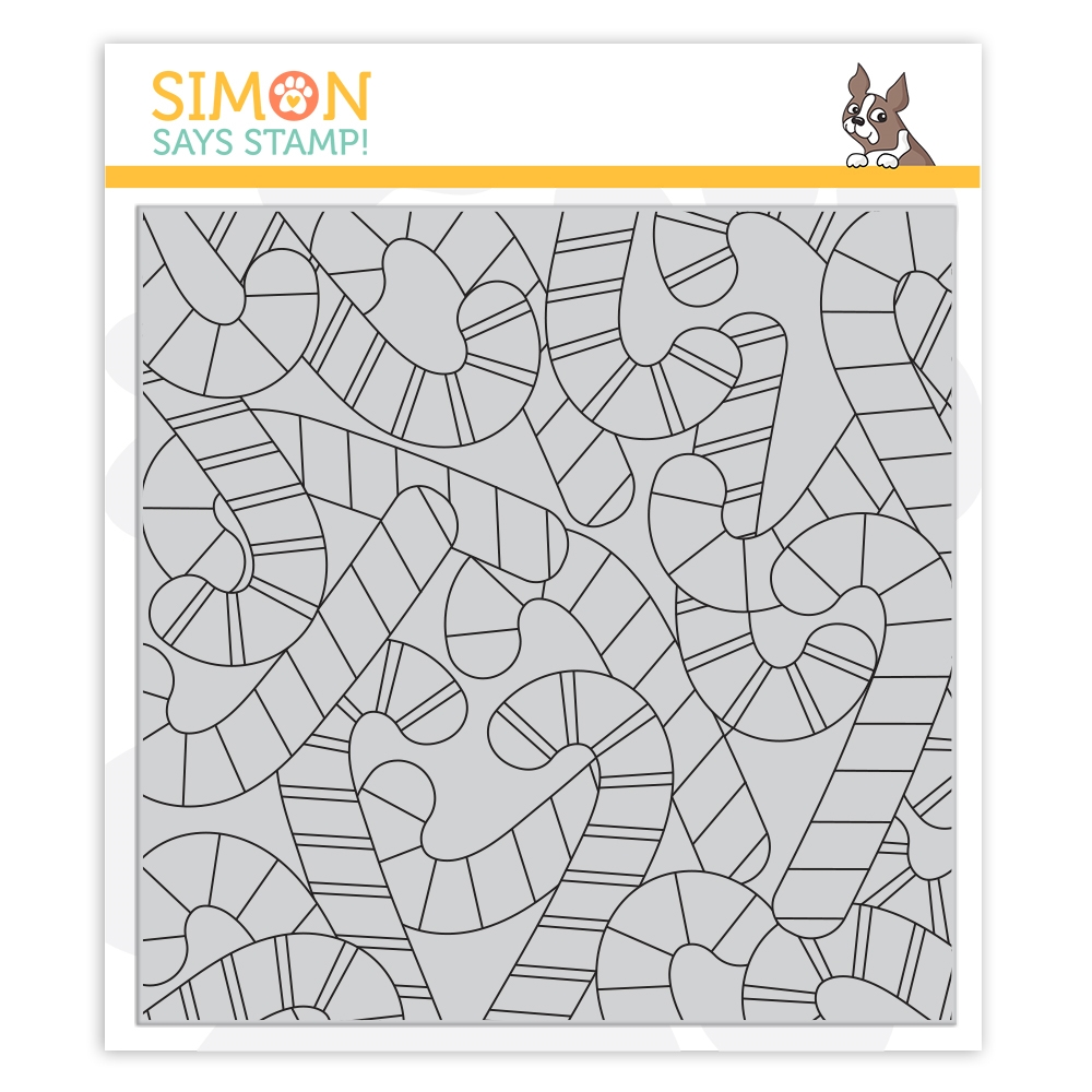 Simon Says Cling Rubber Stamp CANDY CANE BACKGROUND sss102035 Cheer And Joy zoom image