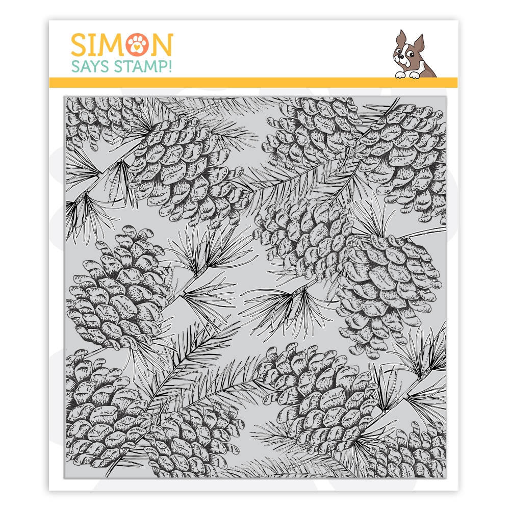 Simon Says Cling Rubber Stamp PINECONE BACKGROUND sss102094 Cheer And Joy zoom image