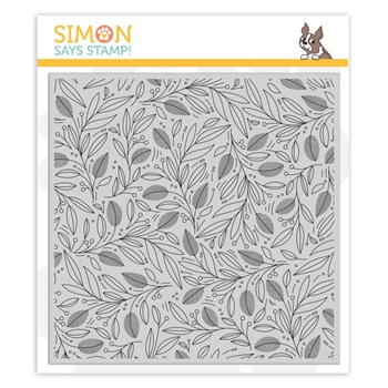 Simon Says Cling Rubber Stamp LEAVES AND BERRIES BACKGROUND sss102039 Cheer And Joy