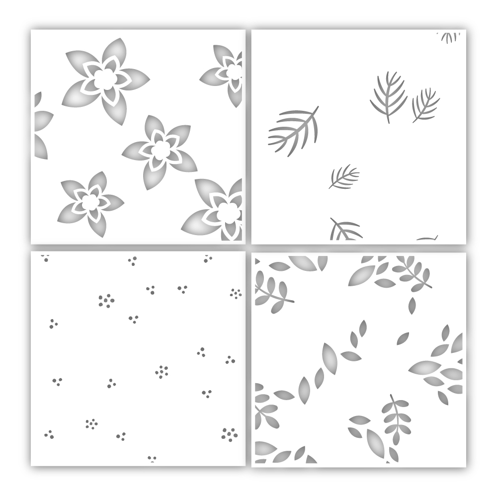 Simon Says Stamp Stencil WINTER FLORAL LAYERING SET ssst121458 Cheer And Joy zoom image