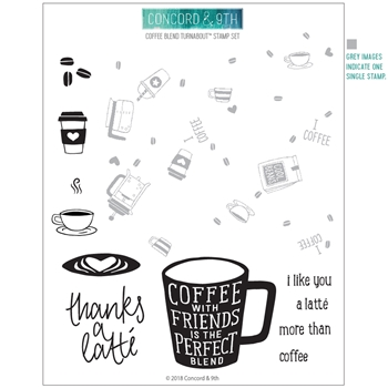 Concord & 9th COFFEE BLEND TURNABOUT Clear Stamp Set 10722