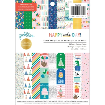 Pebbles Inc. HAPPY CAKE DAY 6x8 Inch Paper Pad 736792