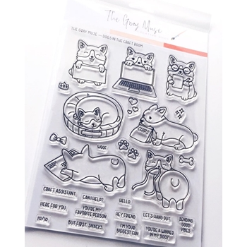 The Gray Muse DOGS IN THE CRAFT ROOM Clear Stamp Set tgm-o19-ss4