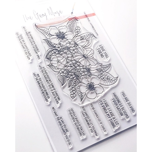 The Gray Muse HAPPINESS BLOOMS Clear Stamp Set tgm-o19-ss6 Preview Image