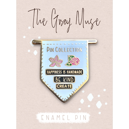 The Gray Muse PIN COLLECTION BANNER WHITE Enamel Pin tgm-o19-p74* Preview Image