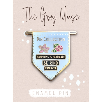 The Gray Muse PIN COLLECTION BANNER WHITE Enamel Pin tgm-o19-p74*