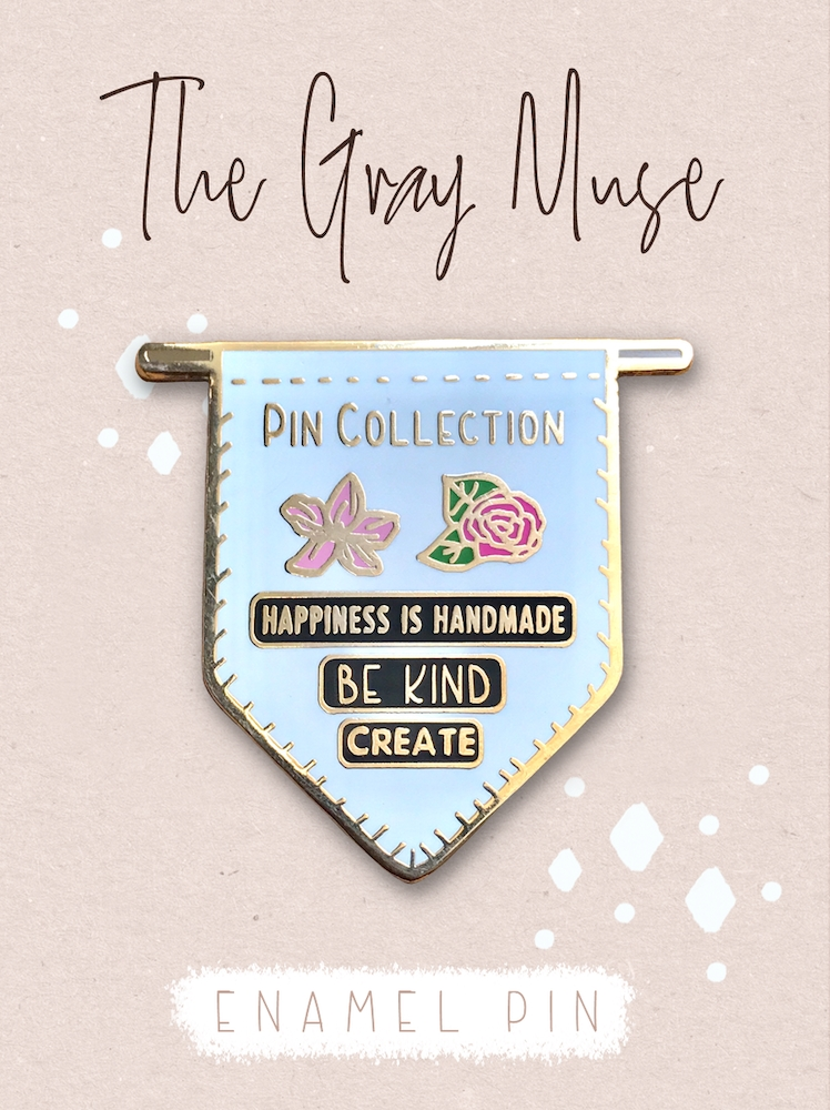 The Gray Muse PIN COLLECTION BANNER WHITE Enamel Pin tgm-o19-p74* zoom image