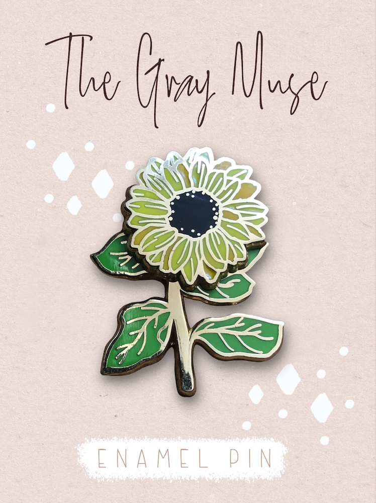 The Gray Muse SPINNING SUNFLOWER Enamel Pin tgm-o19-p78 zoom image
