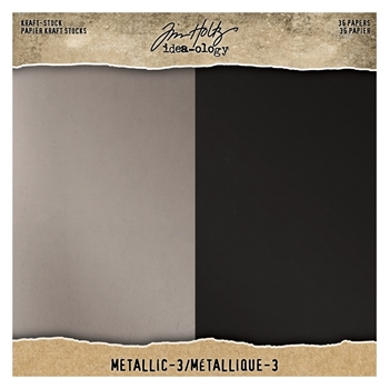 Tim Holtz Idea-ology 8 x 8 Paper Stash METALLIC 3 KRAFT STOCK th94021