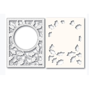 Poppy Stamps HOLLY FRAME AND STENCIL Craft Die and Stencil 2283