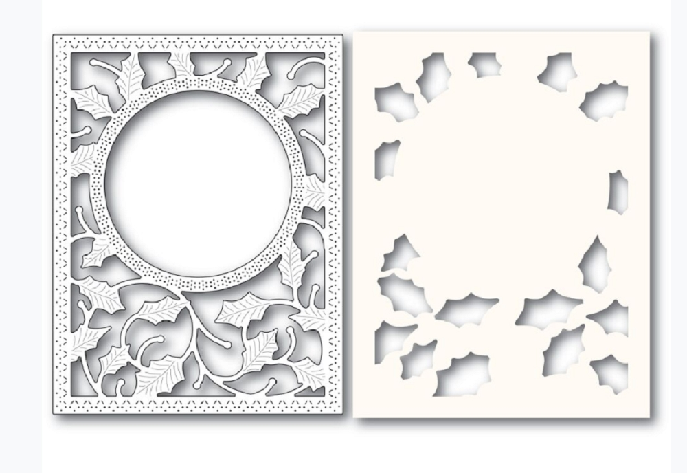 Poppy Stamps HOLLY FRAME AND STENCIL Craft Die and Stencil 2283 zoom image
