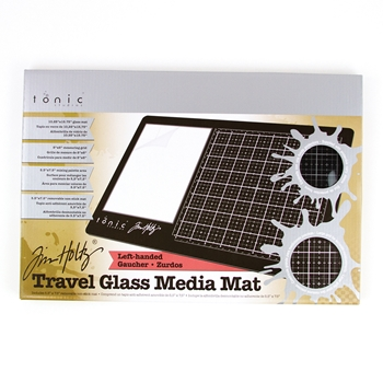 Tim Holtz Tonic Mat on Left TRAVEL GLASS MEDIA MAT 2632e **