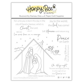 Honey Bee CHRIST IS BORN Clear Stamp Set hbst-204*