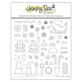 Honey Bee GINGERBREAD HOUSE ADD ON Clear Stamp Set hbst-202