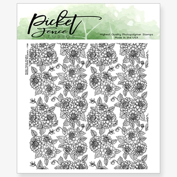 Picket Fence Studios MINIATURE DAHLIA BOUQUET Clear Stamp f128