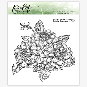 Picket Fence Studios DAHLIA BOUQUET Clear Stamp f127
