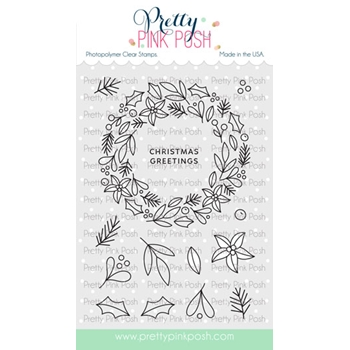 Pretty Pink Posh WINTER WREATH Clear Stamps*