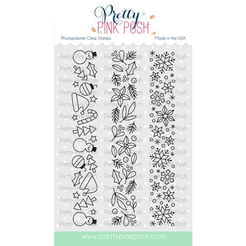 Pretty Pink Posh WINTER BORDERS Clear Stamps Preview Image