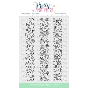 Pretty Pink Posh WINTER BORDERS Clear Stamps