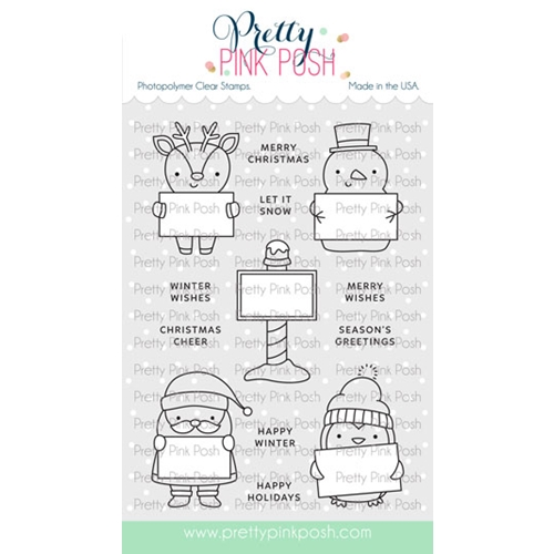 Pretty Pink Posh HOLIDAY SIGNS Clear Stamps Preview Image