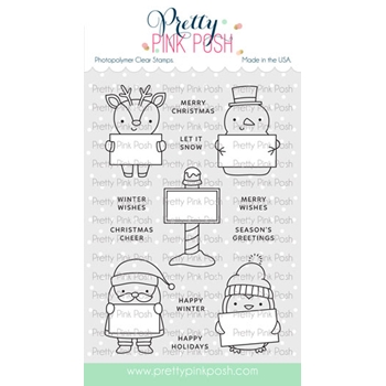 Pretty Pink Posh HOLIDAY SIGNS Clear Stamps
