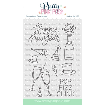 Pretty Pink Posh HAPPY NEW YEAR Clear Stamps*