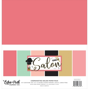 Echo Park SALON 12 x 12 Double Sided Solids Paper Pack sal196015