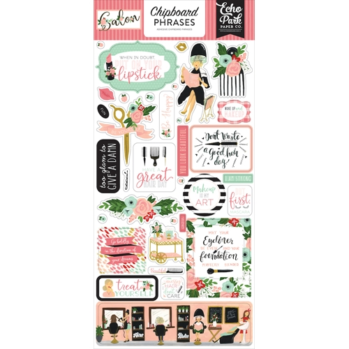 Echo Park SALON Chipboard Phrases sal196022* Preview Image