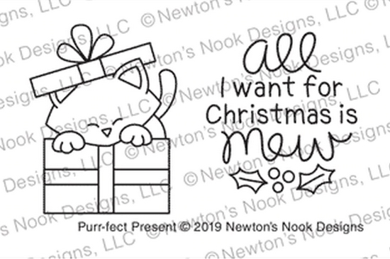 Newton's Nook Designs PURR-FECT PRESENT Clear Stamps NN1910S06 zoom image