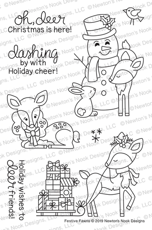 Newton's Nook Designs FESTIVE FAWNS Clear Stamps NN1910S02 zoom image